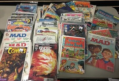75x comic book collection mixed variety used old mad, archie, sports, spiderman,