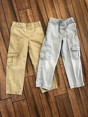 Boys Sonoma 2 Pc Cargo Pants Lot Bundle Gray Tan Brown Stretch Waist Sz 5/6