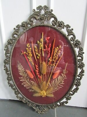VINTAGE Made in ITALY Victorian Ornate Metal Frame Curved Glass Dried Flowers