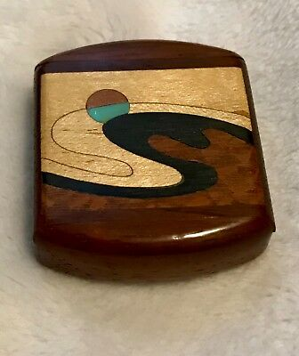 Compass, hand carved wood, sliding wood compass, compass encased in wood,