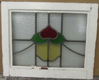 "OLD ENGLISH LEADED STAINED GLASS WINDOW Pretty Floral Heart 20.25"" x 15.5"""