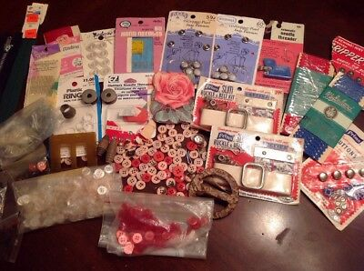 Large Lot of New & Vintage Sewing Supplies, Buttons, Zippers Snaps, Needles, Etc