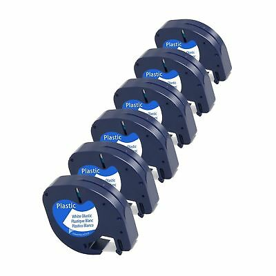 6-Pack Equivalent Dymo Letratag Tape 91331 S0721610 1/2'' W x 13' L Black on ...