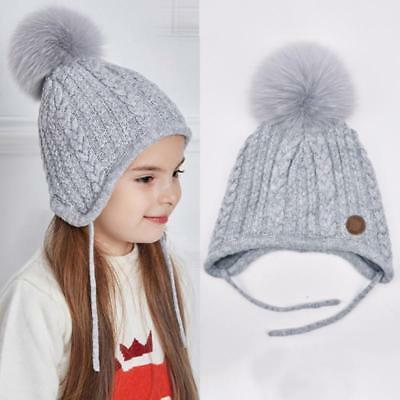 Warm Knit Hat Baby Solid Color Pompom Fur Caps for Boys Girls Autumn Winter