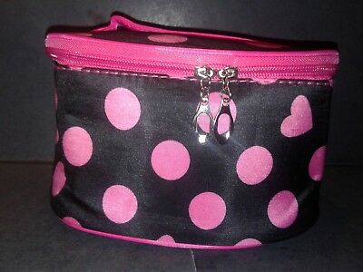 Hot Pink Dots And Hearts Cosmetic Case/travel Bag-New