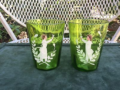 Pair Antique Victorian 19th Century Mary Gregory green Glasses Enamel Girl Boy