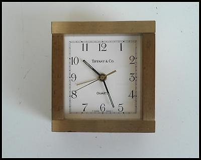 Tiffany & Co. Brushed Brass Desk Alarm Clock Swiss Movement, parts or repair