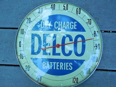 Vintage Delco batteries gas oil advertising thermometer sign