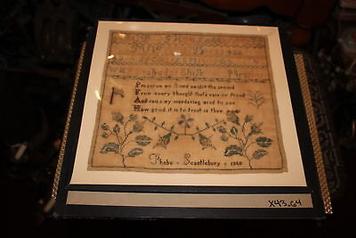 Antique Colonial Sampler-Phebe Scantlebury 1850-Newark Museum NJ-Large-Framed