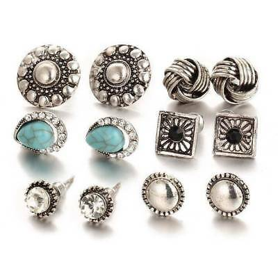 Ladies 6 Pairs Assorted Vintage Boho Stud Earrings