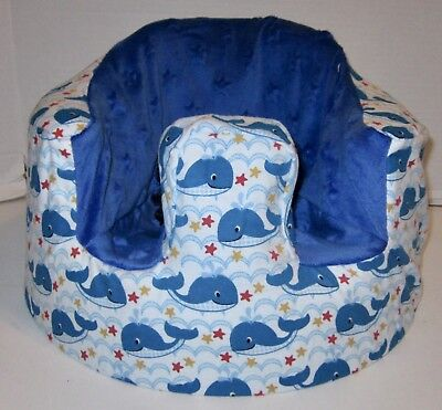 New Bumbo Floor Seat COVER • Whales & Stars w/Blue • Safety Strap Ready