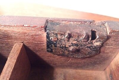 Antique Primitive Forge Iron Lock Wood Writing/Rock Box Square and Spike Nails
