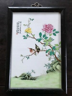 Estate Old House Chinese Porcelain Antique Plaque Marked Signed Asian China