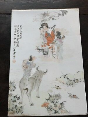 Estate Old House Chinese Antique Porcelain Plaque It Marked Signed Asian China