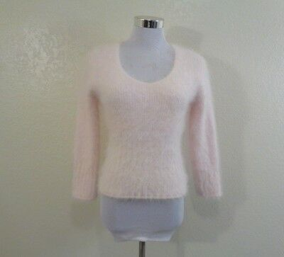 Vintage Express Pale Pink Furry Angora Blend Crop Sweater Sz Sm