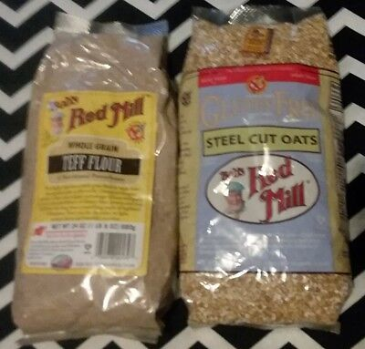 BOTH BAGS!!! Bob's Red Mill Whole Grain Teff Flour 24 oz & Steel Cut Oats 24oz