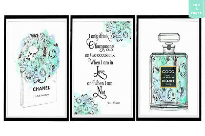 Boho Watercolour Chanel Prints Lots of Styles & Sizes  10 x 8, A4, A3