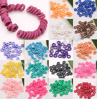 150pcs Disc Fimo Polymer Clay Rondelle Spacer Bead Wafer DIY 5mm Rose