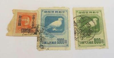 China 1950 Peace $800 and $1200 and $400 surcharge on $44 used on paper