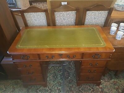 Antique Style Yew Wood Pedestal Writing Desk With A Green Leather Top with keys