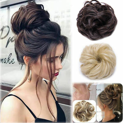 human Curly Messy Bun Hair Piece Scrunchie Updo Cover Hair Extensions Real as