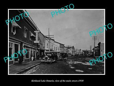 LARGE OLD HISTORIC PHOTO OF KIRKLAND LAKE CANADA, VIEW OF THE MAIN STREET c1930
