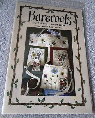 BAREROOTS - FLOWER & HEART TOTE BAGS PATTERN #118 - Barri Sue Gaudet -2005 -USA