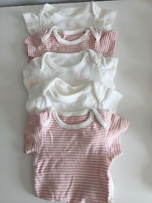 Autograph M&s Baby Girl Pink White Vest Baby Grow Newborn 1 Month