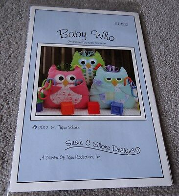 PATTERN - BABY WHO - OWL PILLOW/TOY WITH POCKETS - Susie C Shore Designs - USA