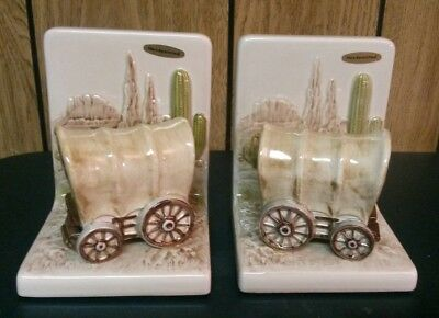 Vintage Southwestern Western Hand Painted Ceramic Covered Wagon Bookends