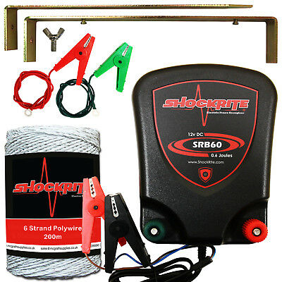 Electric Fence Energiser 12V ShockRite SRB60 0.6J Fencer 200m White Polywire