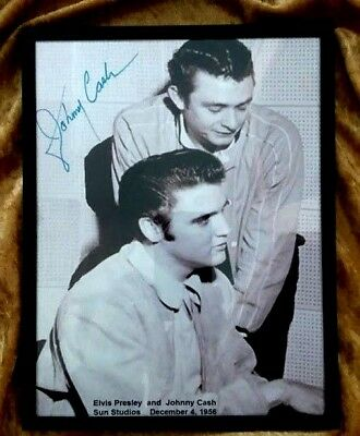 Elvis & Johnny Cash EXTREMELY RARE - Hand signed by Johnny - Sun Studio 1956  PH