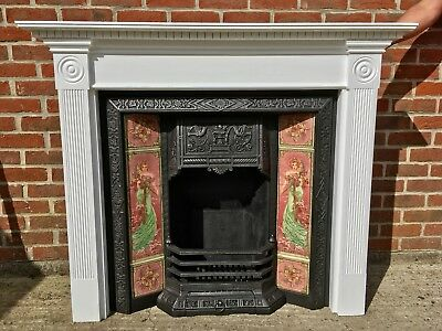 'Mucha' Tiled Victorian Style Cast Iron Fireplace & Solid Wood Painted Surround