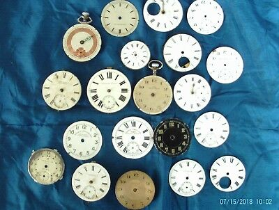 job lot  of 20 vintage /antique pocket watches movements and faces for spares