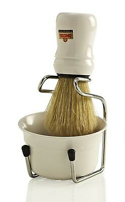 OMEGA BRUSH SHAVE SET 49.18 (White) Boar Bristle Brush, Stand & Cup