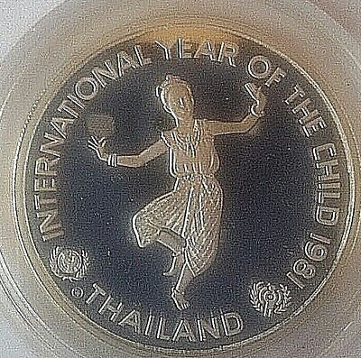 Thailand 200 Baht 1981, Internationales Jahr des Kindes, Silber, PP Münze Top !