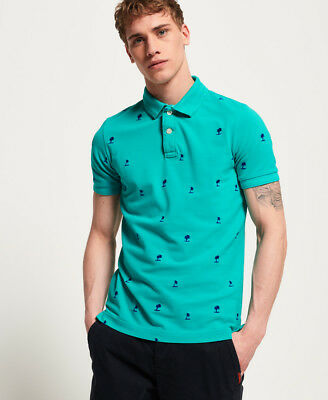 New Mens Superdry Classic Bermuda All Over Print Pique Polo Shirt Montauk Teal