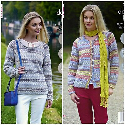 KNITTING PATTERN Ladies Easy Knit Scoop Neck Jumper & Cardigan DK King Cole 5303
