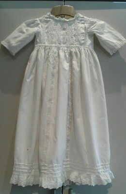 Antique Vintage Embroidered  Cotton & Lace Baby Gown / Dress