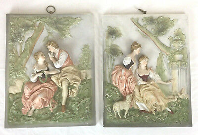 Andrea by Sadek 2 Bisque Wall Plaque 3D Courting Scene 6750 Maidens With Sheep