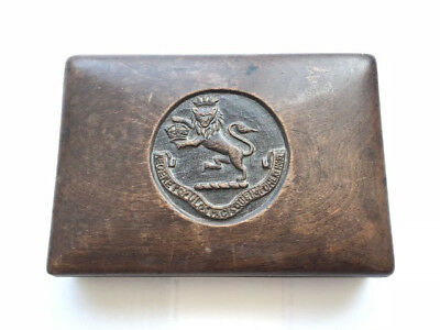 Antique Wooden Cigar Box with Carved Lid - Possibly from British Raj Era India