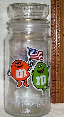 M & M Jar w/lid Games of the XXIII Olympics Mars INC.1983 Anchor HOCKINGS Glass