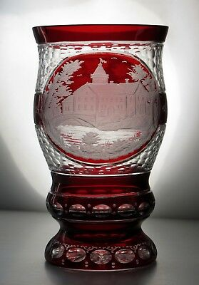 Antique Egermann Bohemian Engraved Ruby Red to Clear Glass tumbler/goblet Rare
