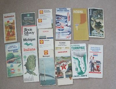 Lot of 18 Vintage road maps  - Shell, Standard, other - late 60's to early 70's