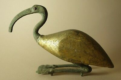 Replica Ancient Egyptian Late Period to Ptolemaic Bronze / Gilded Wood Ibis Bird