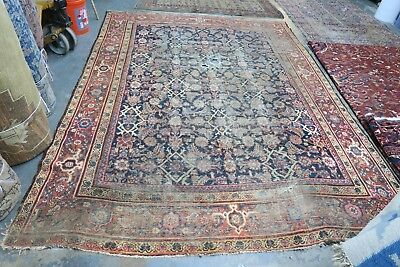 Antique Allover Mahal Persian Rug Hand Knotted Wool 7'0x 9'6 Repairman's Dream !