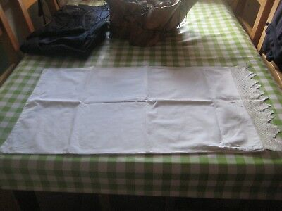 Antique/vintage White Linen Pillow Sham With Crochet Lace Edging
