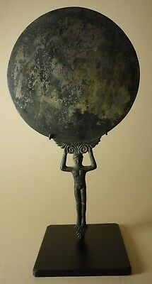 Replica Ancient Roman 2nd Century AD Cast Bronze Mirror with Nude Male Handle