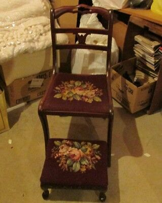 Antique Chair matching Stool set Mahogany or Cherry ?? from 1940's