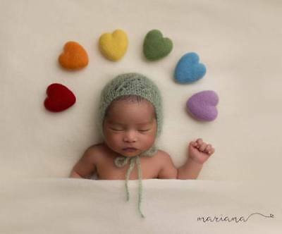 Handmade newborn photo props needle felted heart, teddy & gift idea for her him